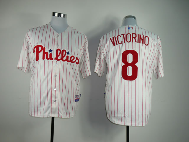Men Philadelphia Phillies 8 Victorino White MLB Jerseys
