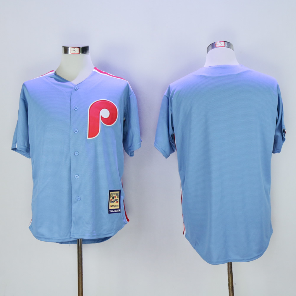 Men Philadelphia Phillies Blank Light Blue Throwback MLB Jerseys