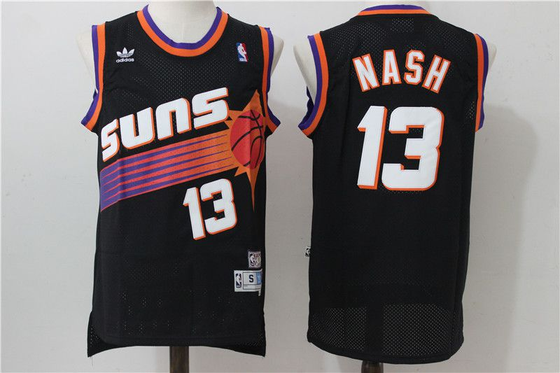 Men Phoenix Suns 13 Nash Black Adidas NBA Jerseys