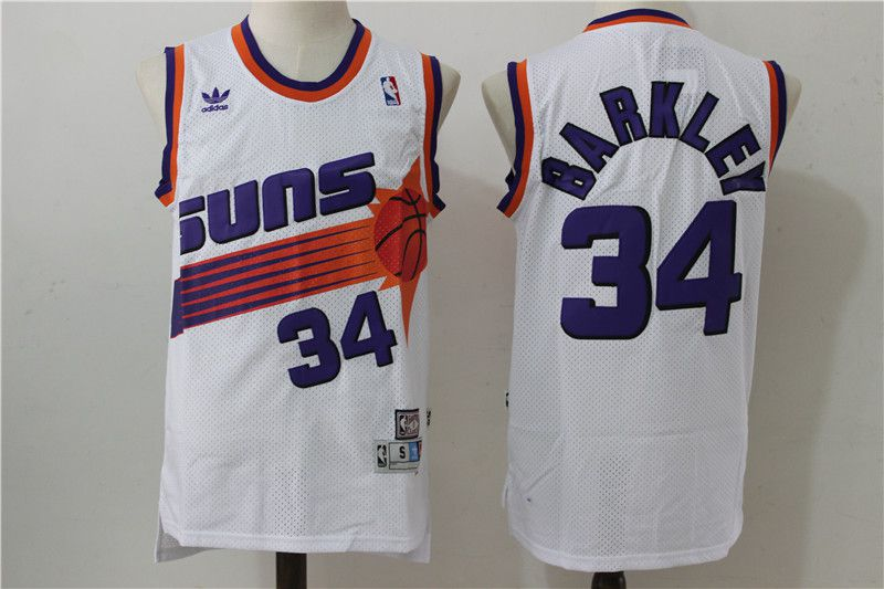 Men Phoenix Suns 34 Barkley White Adidas NBA Jerseys