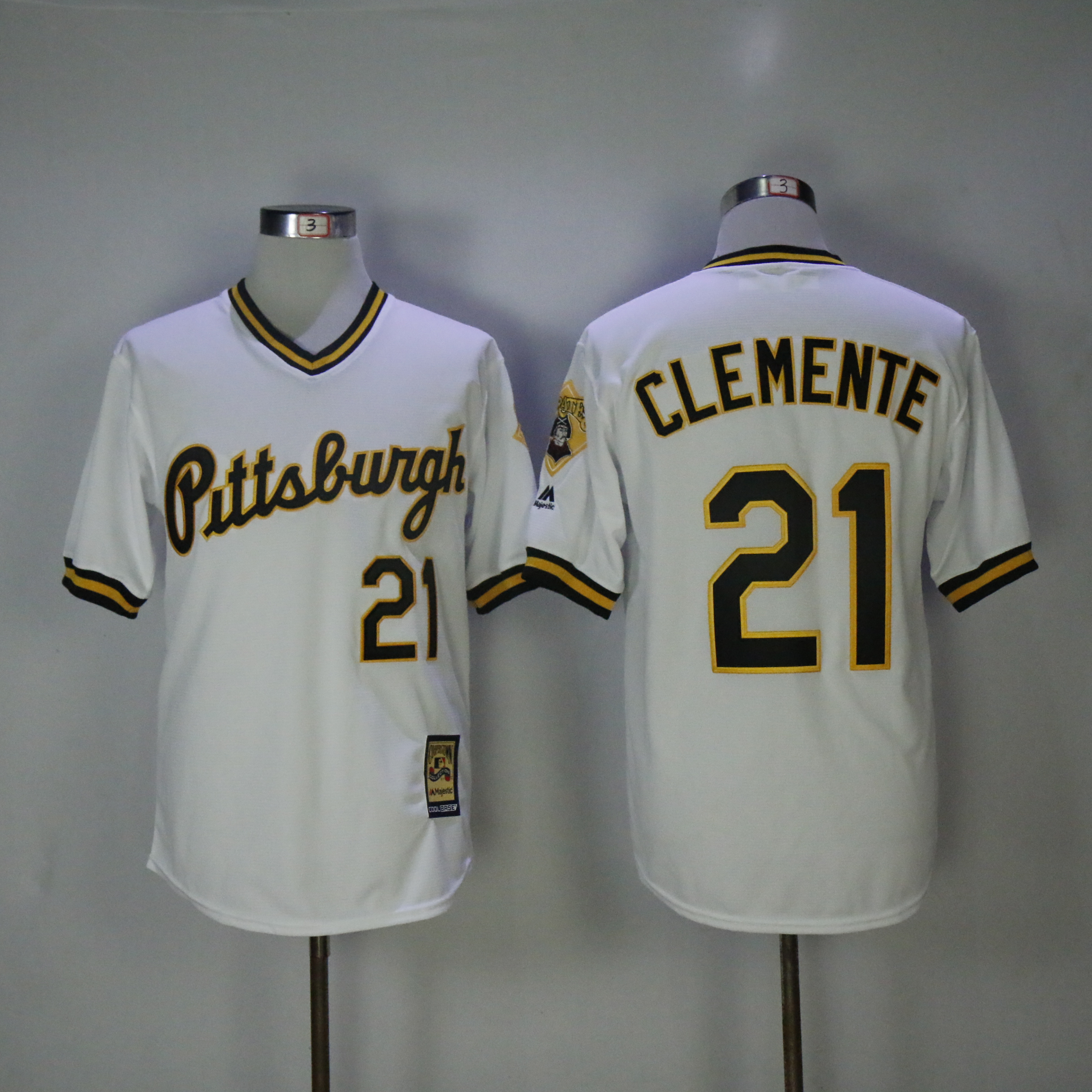 Men Pittsburgh Pirates 21 Clemente White Throwback MLB Jerseys