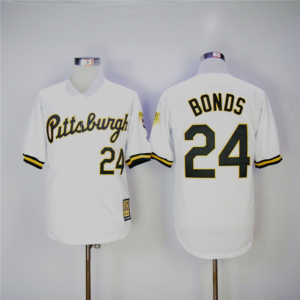 Men Pittsburgh Pirates 24 Bonds White Throwback Game MLB Jerseys