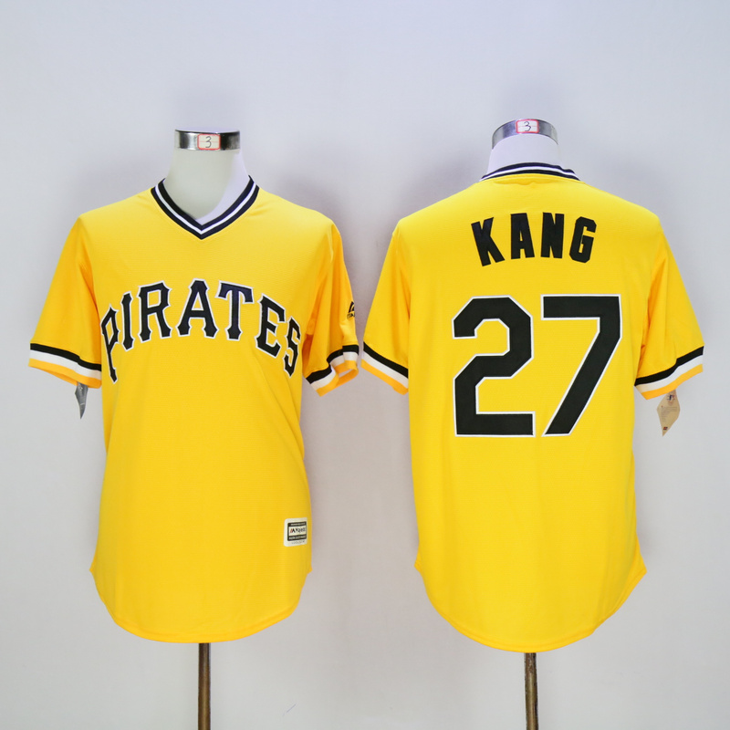 Men Pittsburgh Pirates 27 Kang Yellow Game MLB Jerseys