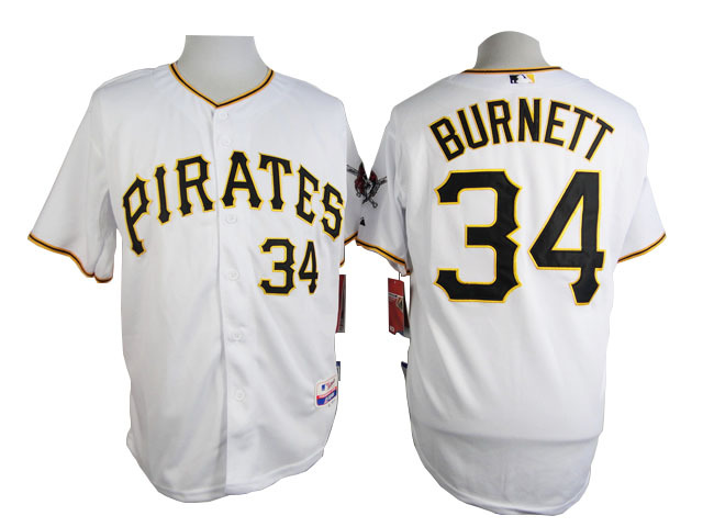 Men Pittsburgh Pirates 34 Burnett White MLB Jerseys