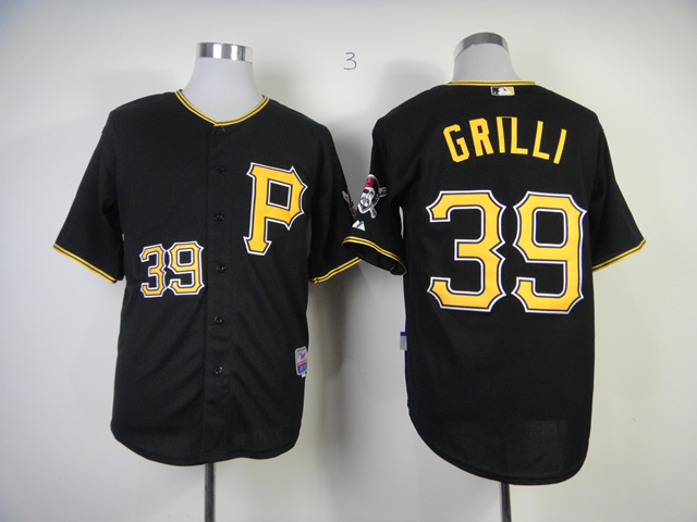 Men Pittsburgh Pirates 39 Grilli Black MLB Jerseys