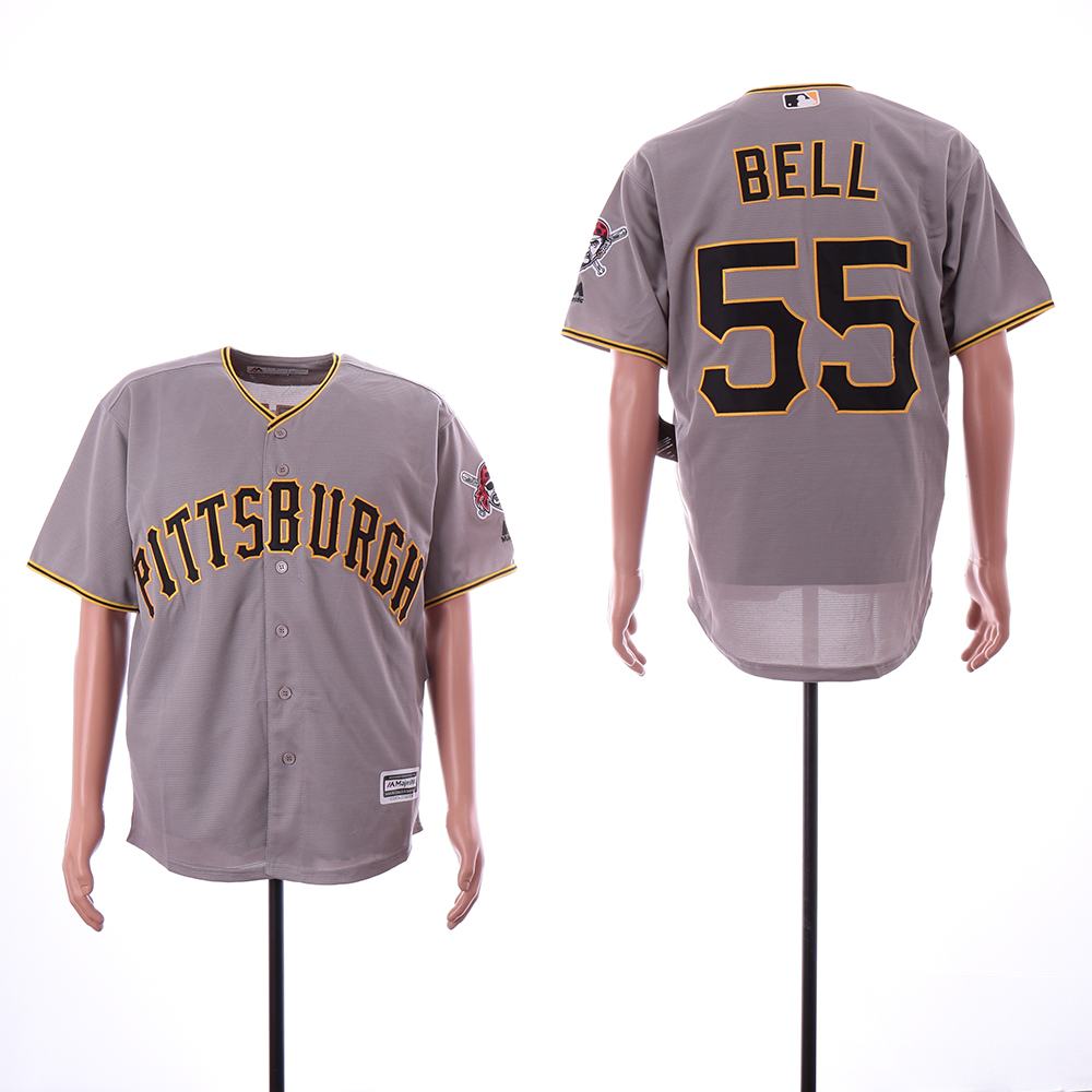Men Pittsburgh Pirates 55 Bell Grey Game MLB Jerseys