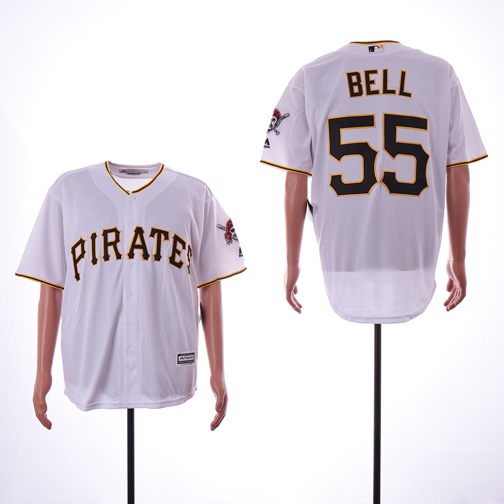 Men Pittsburgh Pirates 55 Bell White Game MLB Jerseys