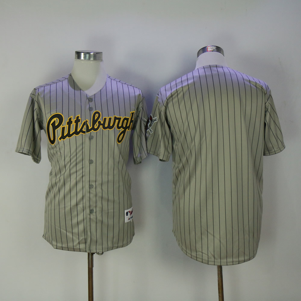 Men Pittsburgh Pirates Blank Grey Stripe MLB Jerseys