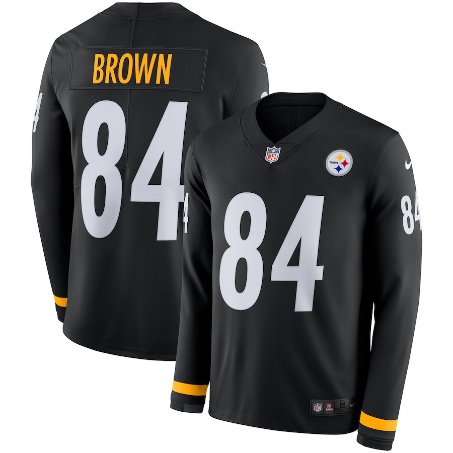 Men Pittsburgh Steelers 84 Brown black Limited NFL Nike Therma Long Sleeve Jersey