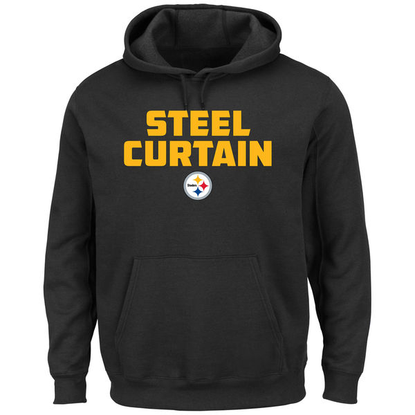 Men Pittsburgh Steelers Majestic Hot Phrase Pullover Hoodie Black