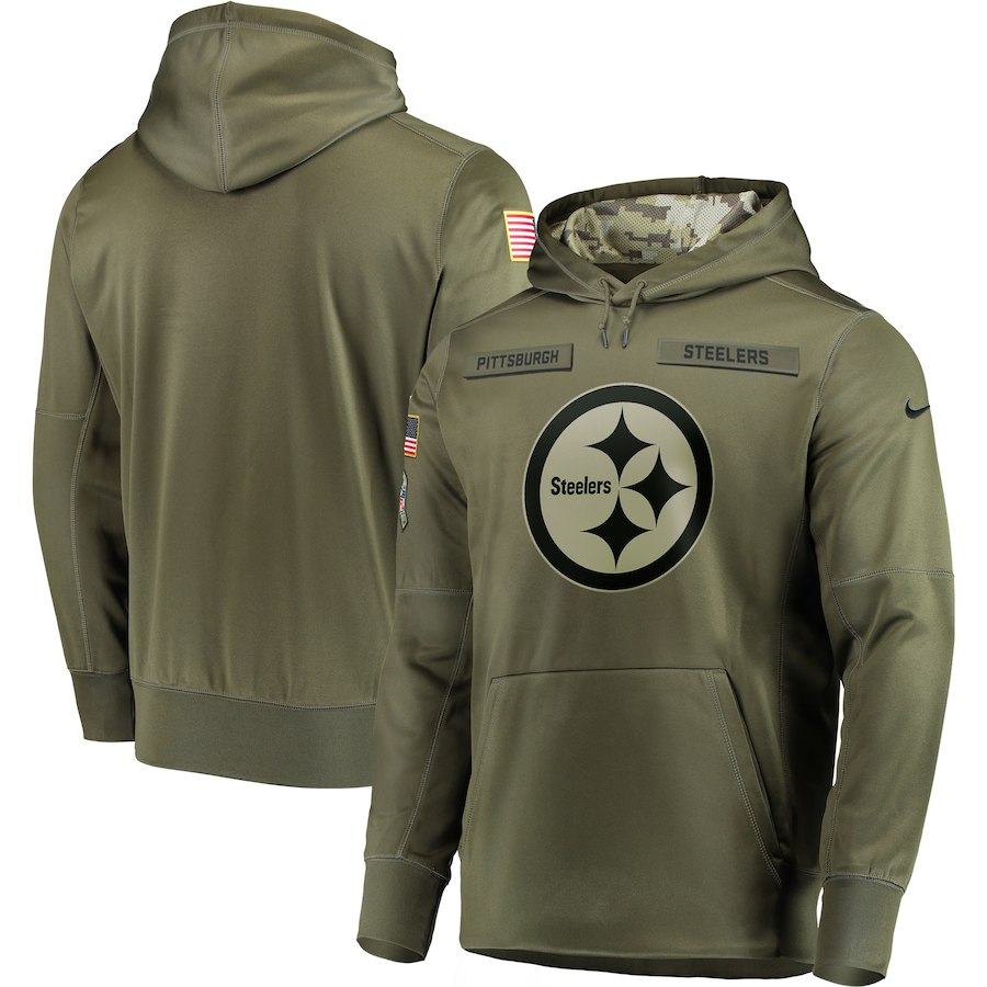 Men Pittsburgh Steelers Nike Olive Salute To Service KO Performance Hoodie Green