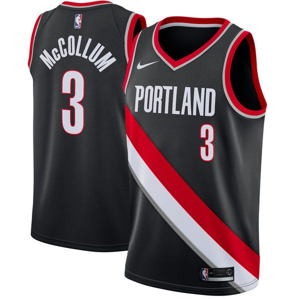 Men Portland Trail Blazers 3 Mccollum Black Game Nike NBA Jerseys