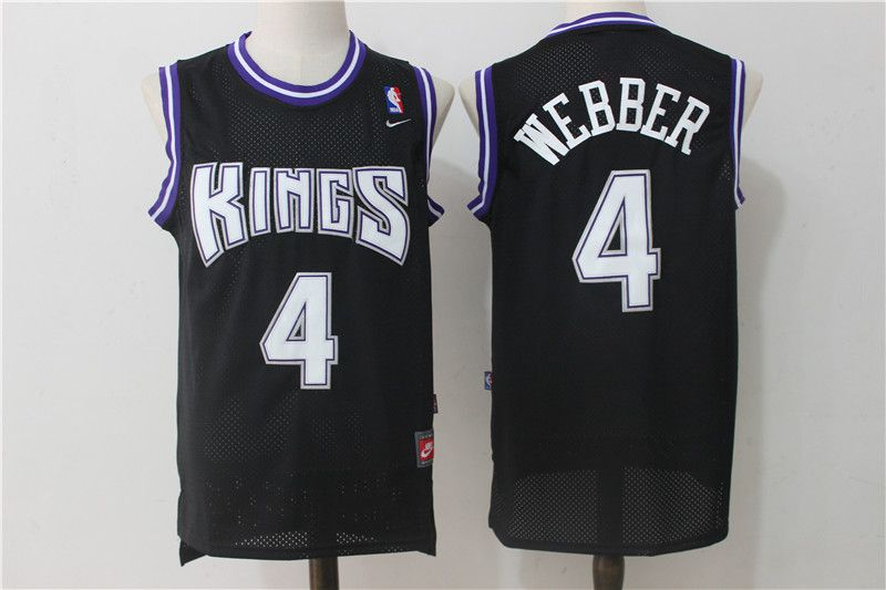 Men Sacramento Kings 4 Webber Black Throwback NBA Jerseys