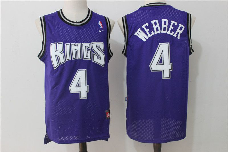 Men Sacramento Kings 4 Webber Purple Throwback NBA Jerseys