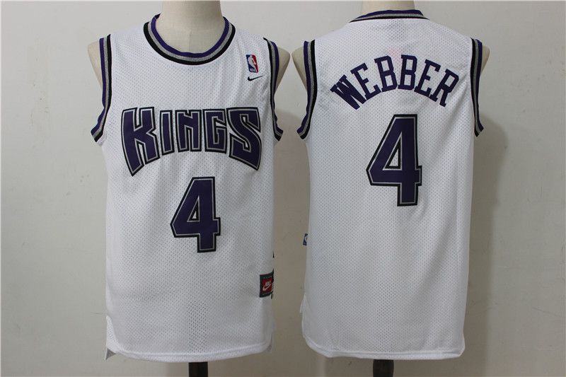 Men Sacramento Kings 4 Webber White Throwback NBA Jerseys
