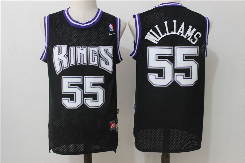 Men Sacramento Kings 55 Williams Black Throwback NBA Jerseys