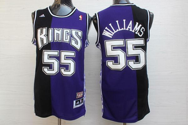 Men Sacramento Kings 55 Williams Black purple Throwback NBA Jerseys