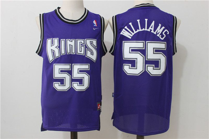 Men Sacramento Kings 55 Williams Purple Throwback NBA Jerseys