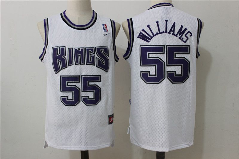 Men Sacramento Kings 55 Williams White Throwback NBA Jerseys