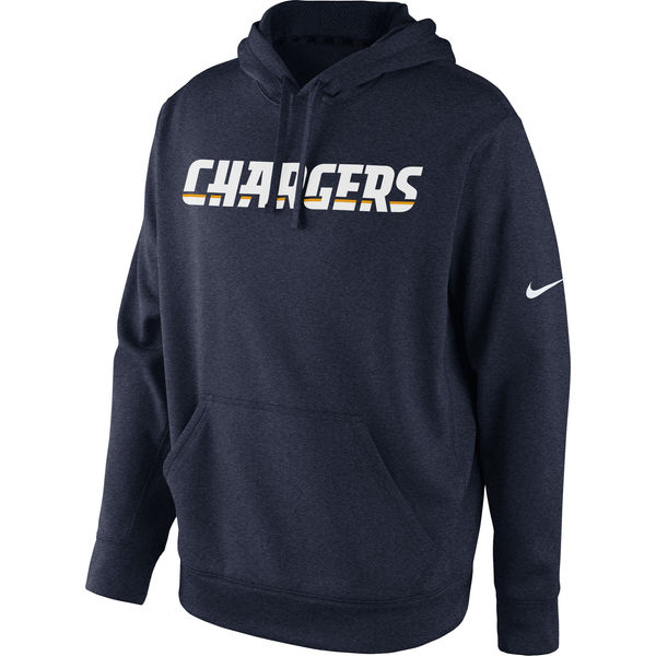 Men San Diego Chargers Nike KO Wordmark Performance Hoodie Navy Blue