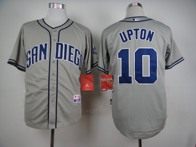 Men San Diego Padres 10 Upton Grey MLB Jerseys