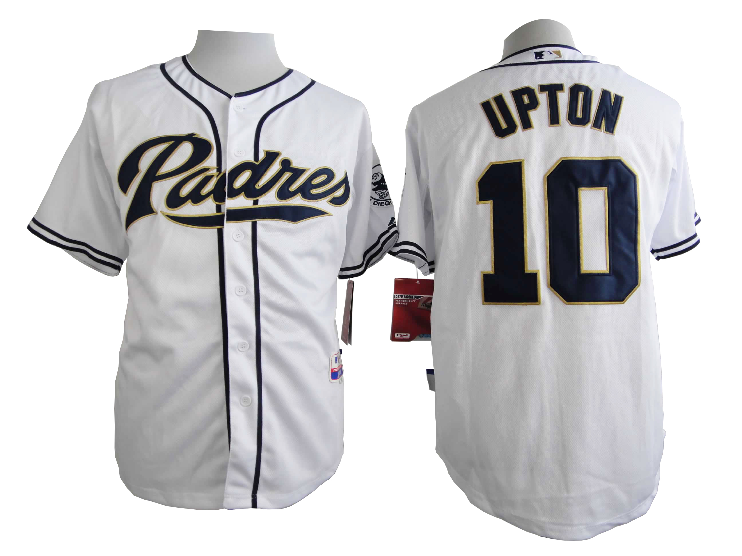 Men San Diego Padres 10 Upton White MLB Jerseys