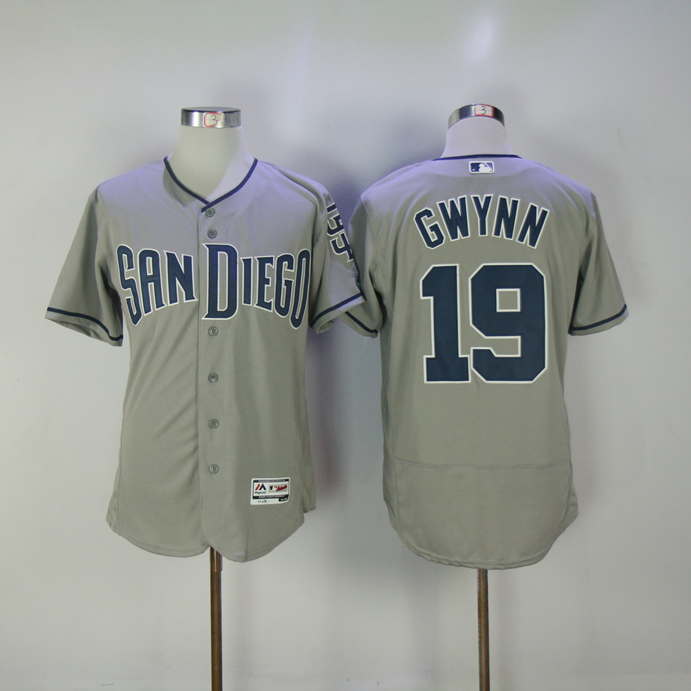 Men San Diego Padres 19 Gwynn Grey MLB Jerseys