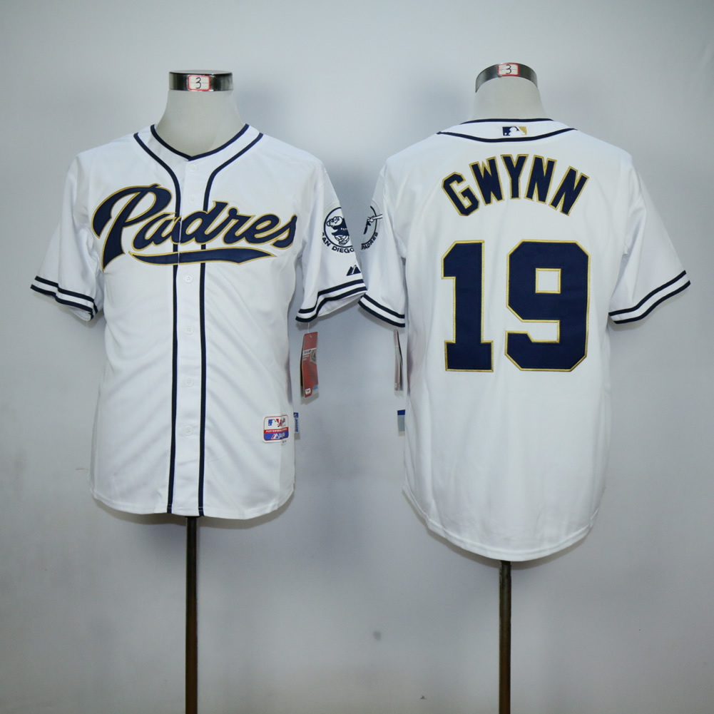 Men San Diego Padres 19 Gwynn White MLB Jerseys