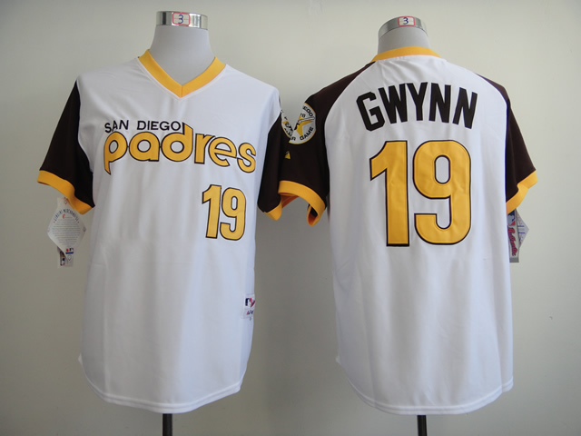Men San Diego Padres 19 Gwynn White Throwback 1978 MLB Jerseys