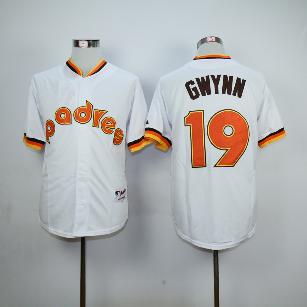 Men San Diego Padres 19 Gwynn White Throwback 1984 MLB Jerseys