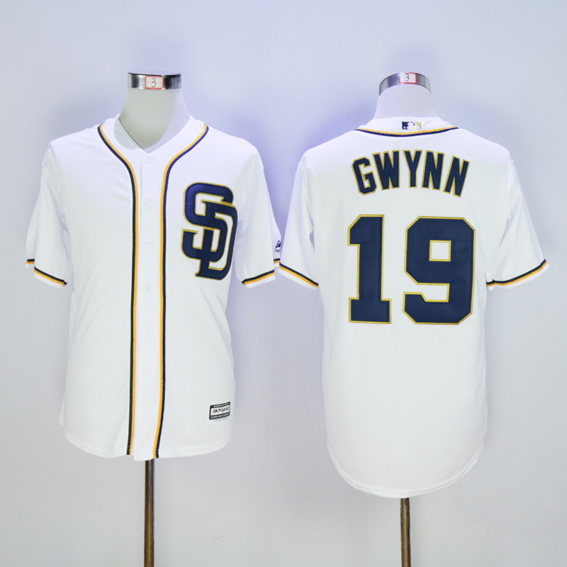 Men San Diego Padres 19 Gwynn White Throwback Game MLB Jerseys