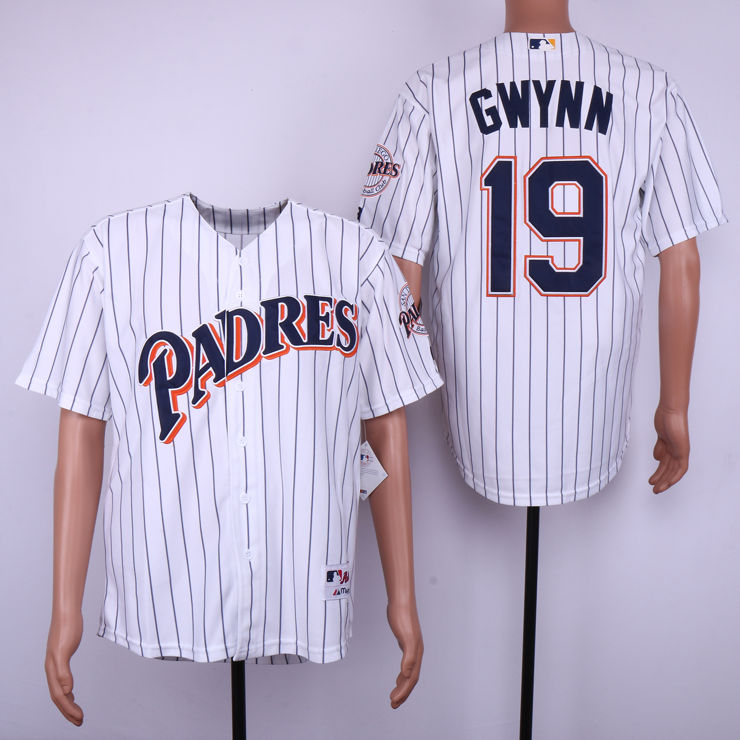 Men San Diego Padres 19 Gwynn White Throwback MLB Jerseys