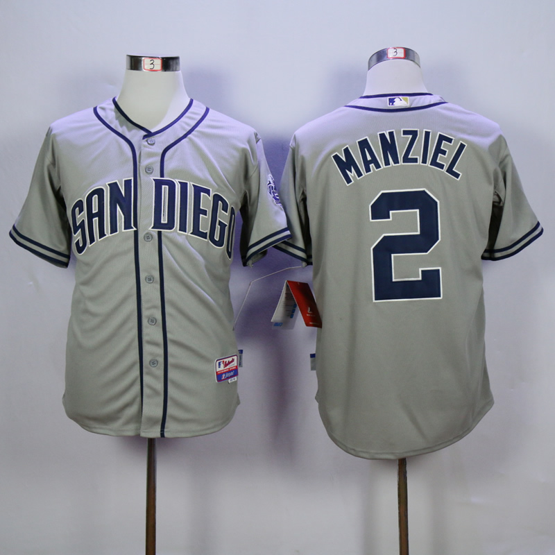 Men San Diego Padres 2 Manziel Grey MLB Jerseys