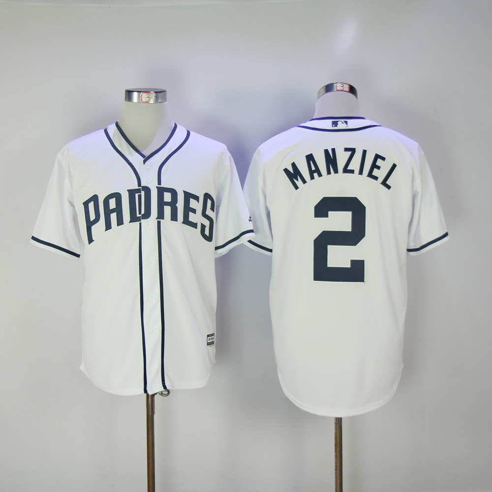 Men San Diego Padres 2 Manziel White MLB Jerseys