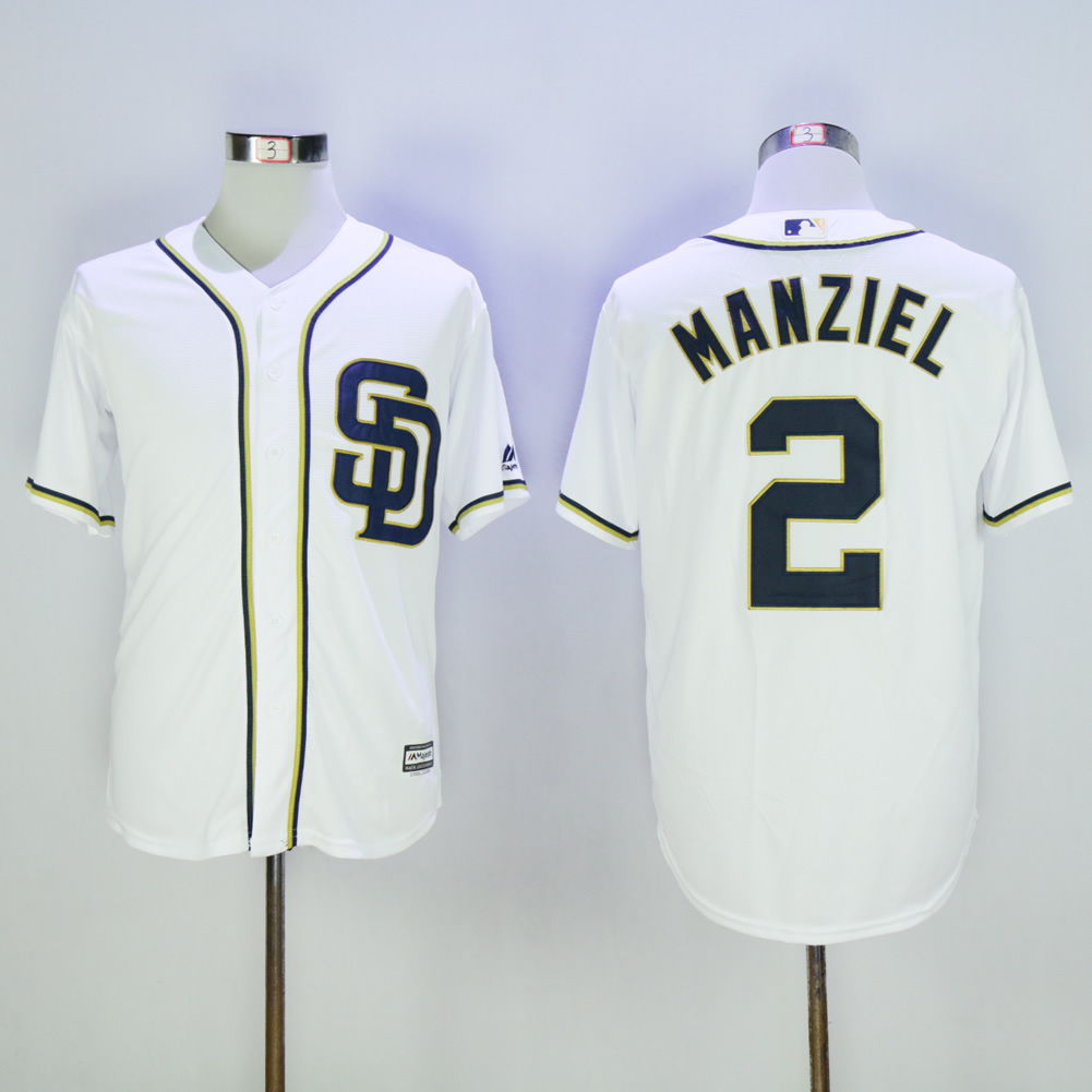 Men San Diego Padres 2 Manziel White MLB Jerseys1