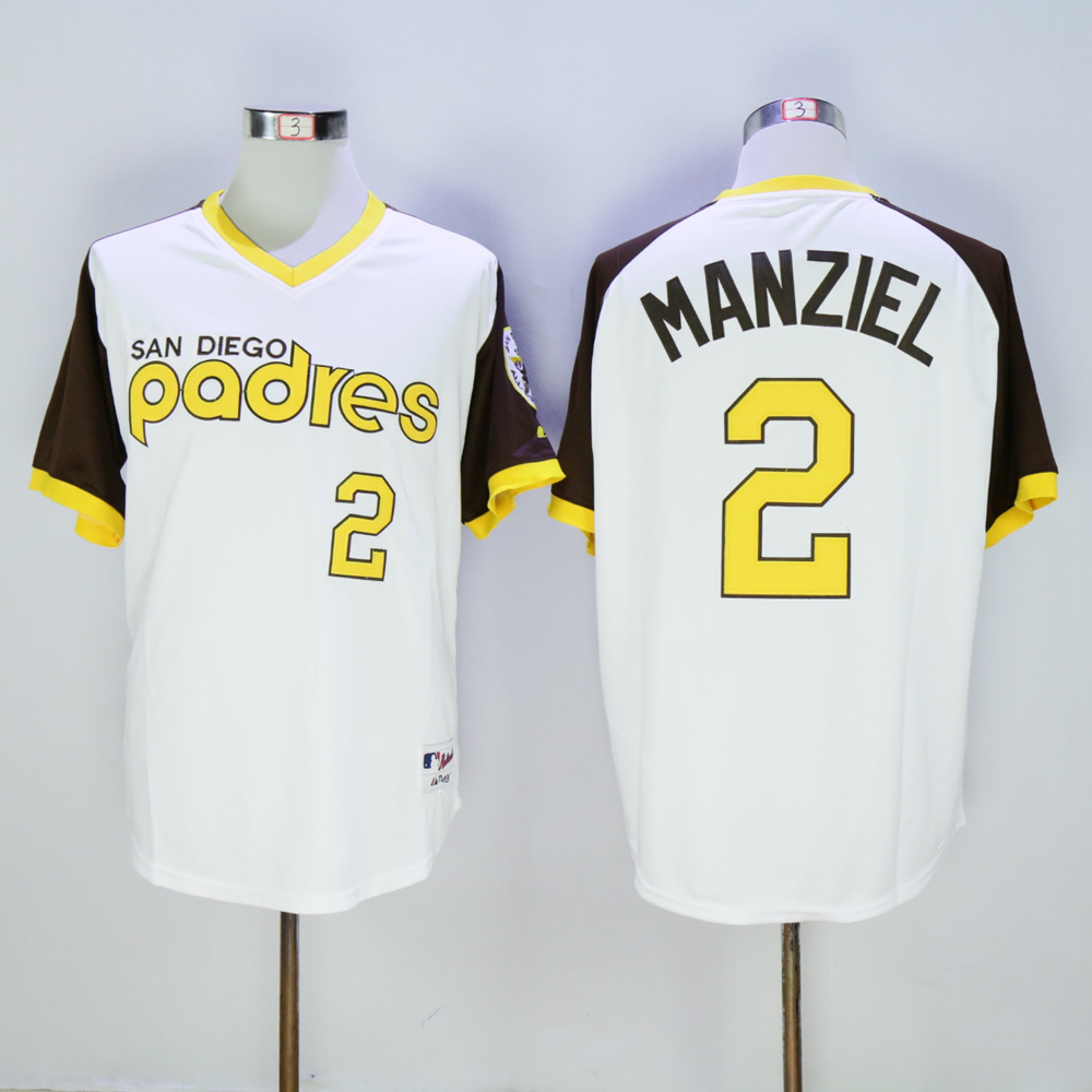 Men San Diego Padres 2 Manziel White Throwback 1978 MLB Jerseys