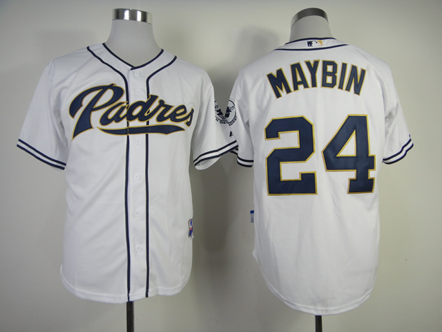 Men San Diego Padres 24 Maybin White MLB Jerseys