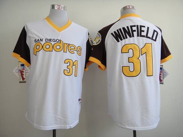 Men San Diego Padres 31 Winfield White Throwback 1978 MLB Jerseys