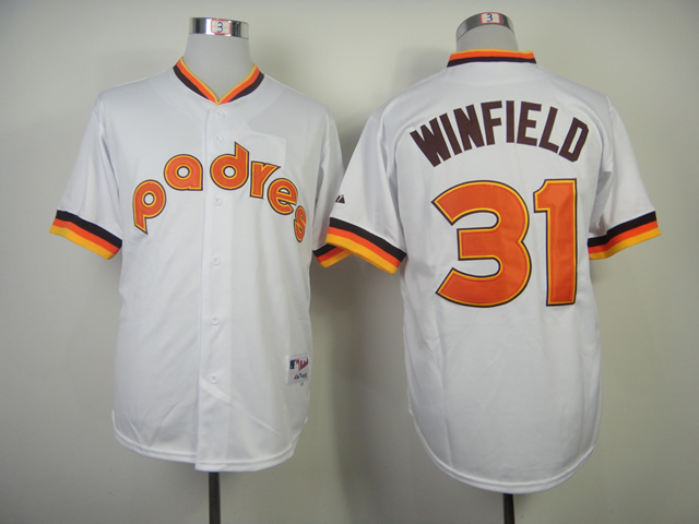 Men San Diego Padres 31 Winfield White Throwback 1984 MLB Jerseys