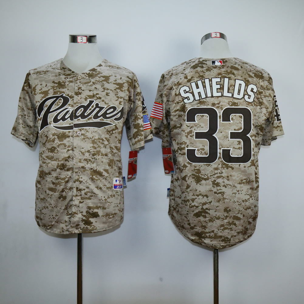 Men San Diego Padres 33 Shields Camo MLB Jerseys