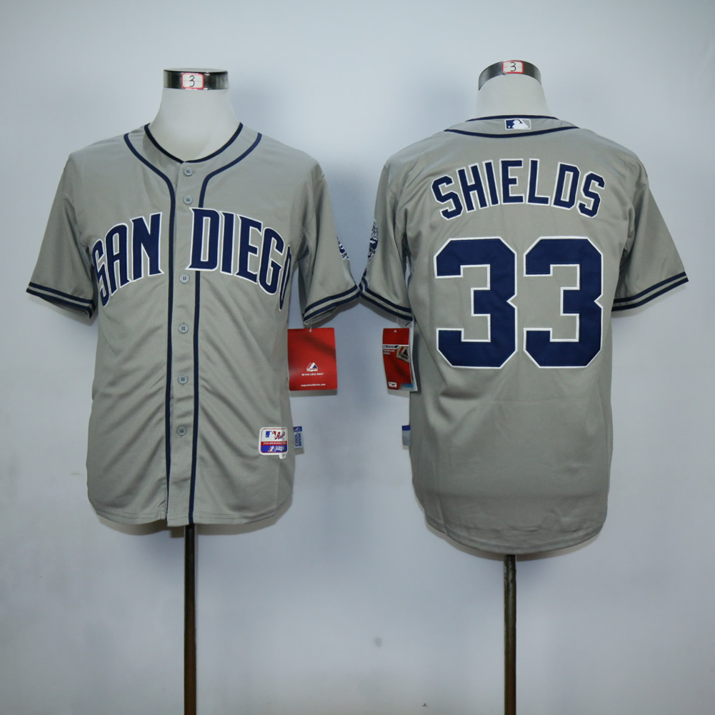 Men San Diego Padres 33 Shields Grey MLB Jerseys