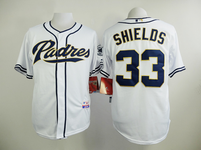Men San Diego Padres 33 Shields White MLB Jerseys