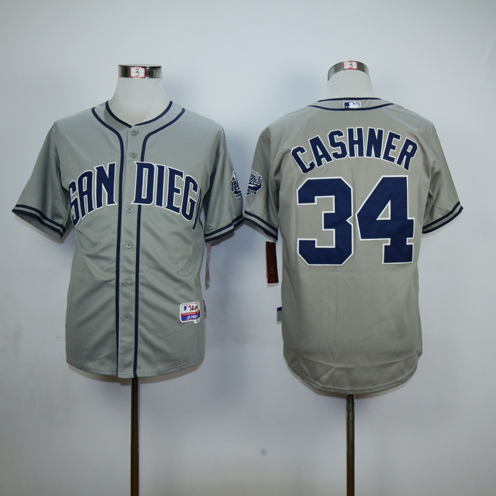 Men San Diego Padres 34 Cashner Grey MLB Jerseys