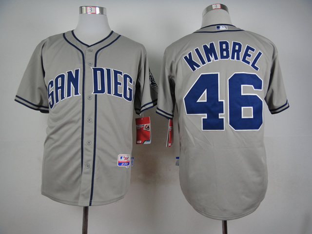 Men San Diego Padres 46 Kimbrel Grey MLB Jerseys