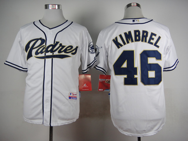 Men San Diego Padres 46 Kimbrel White MLB Jerseys