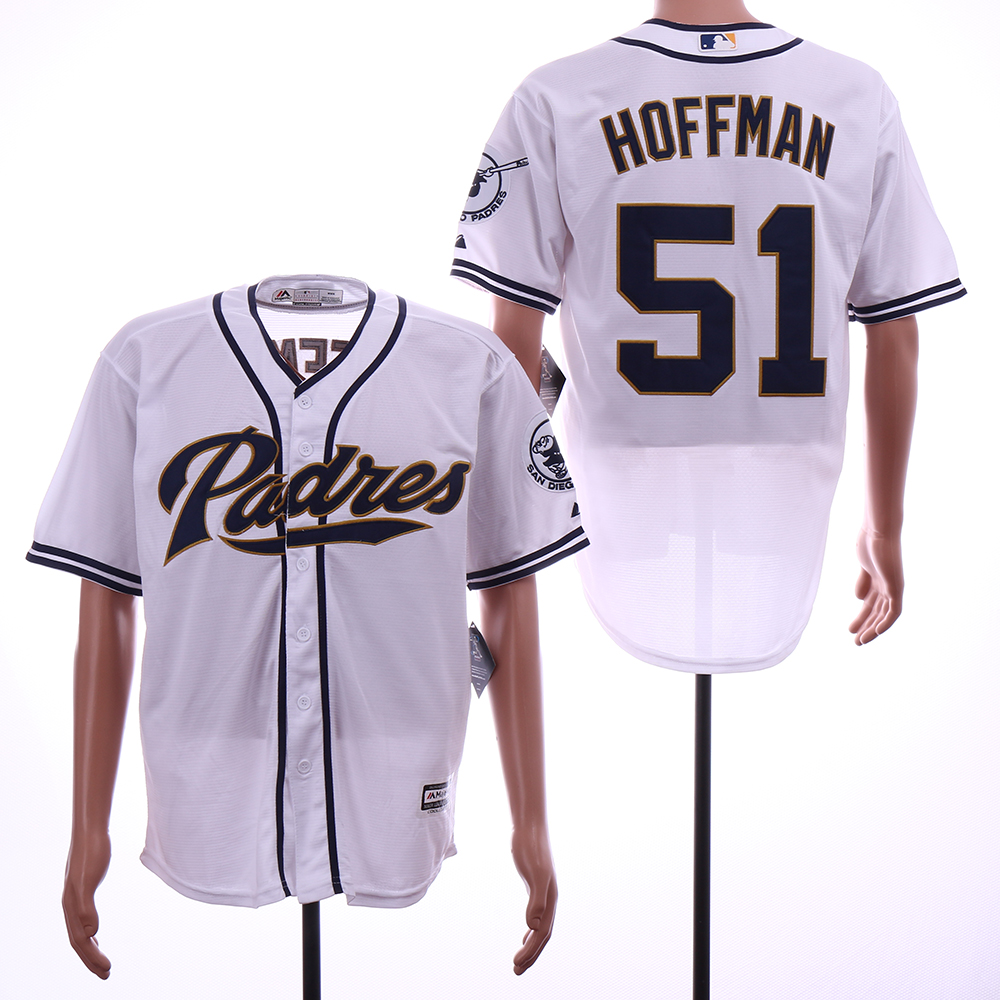 Men San Diego Padres 51 Hoffman White Game MLB Jerseys