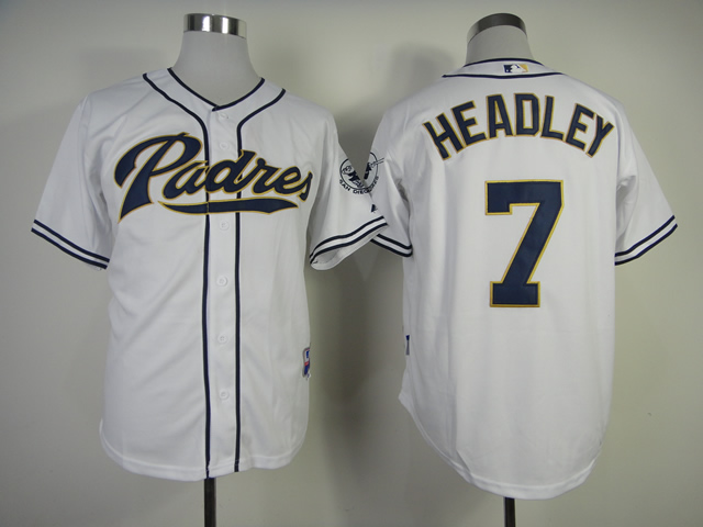 Men San Diego Padres 7 Headley White MLB Jerseys