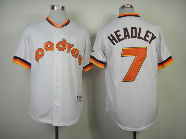 Men San Diego Padres 7 Headley White Throwback 1984 MLB Jerseys