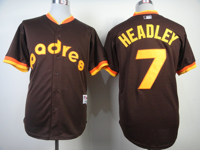 Men San Diego Padres 7 Headley brown Throwback 1984 MLB Jerseys