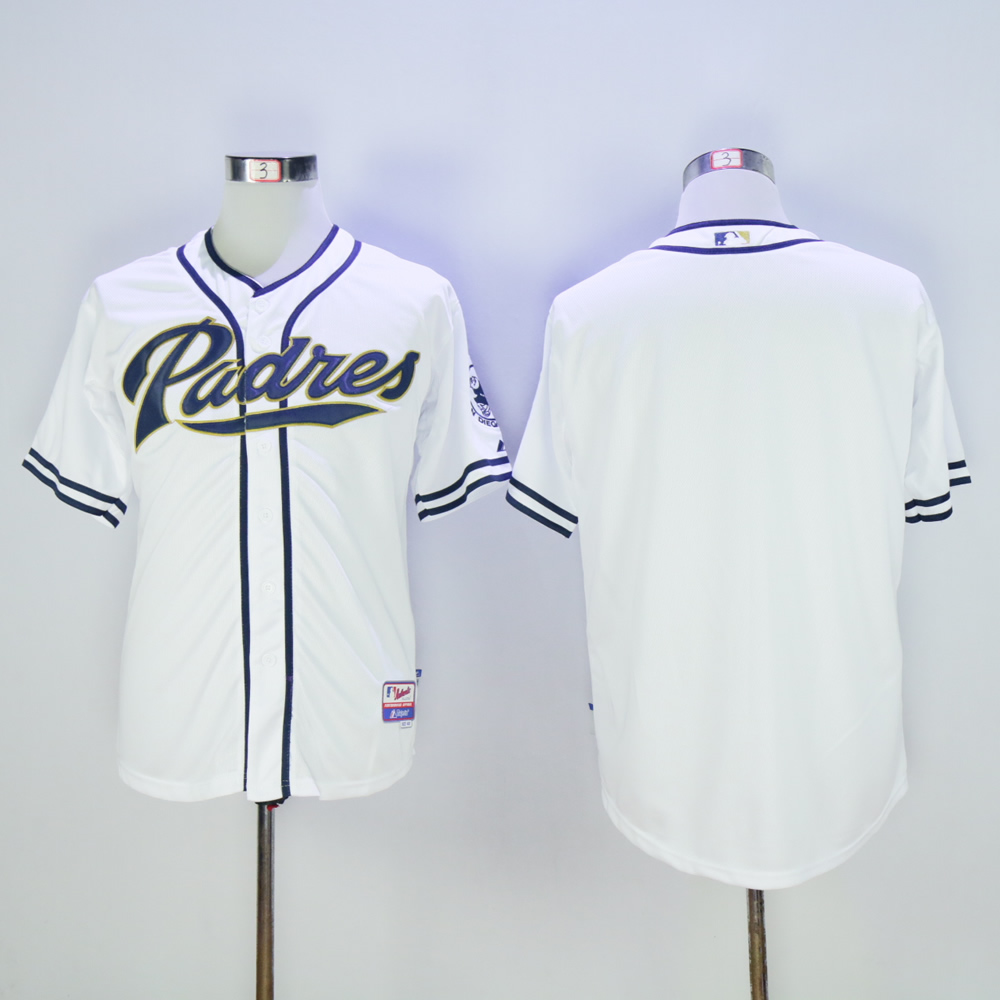 Men San Diego Padres Blank White MLB Jerseys